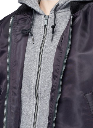 Detail View - Click To Enlarge - R13 - Jersey hood nylon zip flight jacket