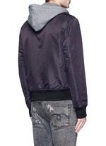 Jersey hood nylon zip flight jacket