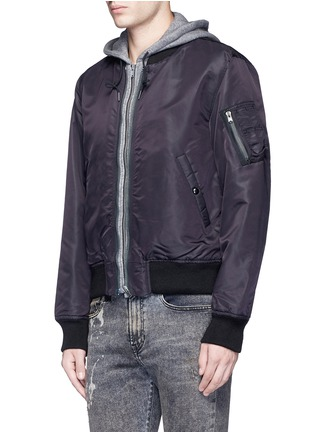 Front View - Click To Enlarge - R13 - Jersey hood nylon zip flight jacket