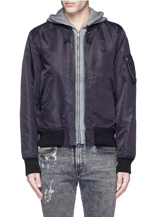 R13-Jersey hood nylon zip flight jacket