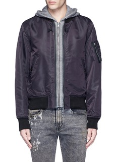 R13Jersey hood nylon zip flight jacket