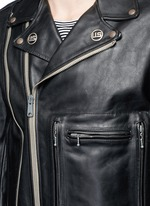 U.S. pin contrast zip calf leather moto jacket