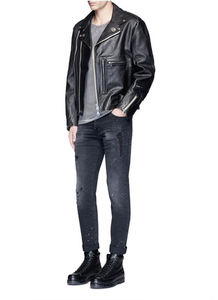 Figure View - Click To Enlarge - R13 - U.S. pin contrast zip calf leather moto jacket