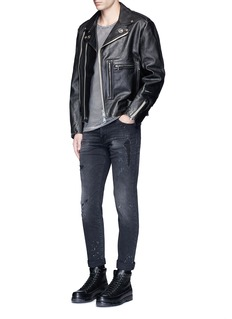 R13 U.S. pin contrast zip calf leather moto jacket