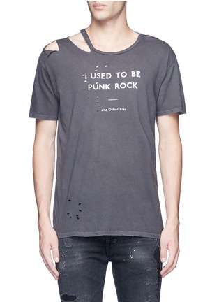 Main View - Click To Enlarge - R13 - 'Punk' distressed cotton-cashmere T-shirt