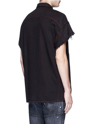 Back View - Click To Enlarge - R13 - Oversized frayed cuff cotton shirt