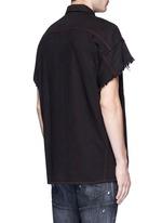 Oversized frayed cuff cotton shirt