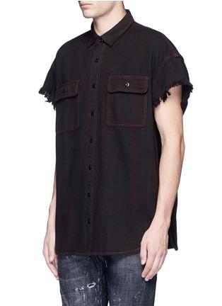 R13-Oversized frayed cuff cotton shirt