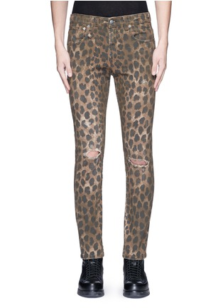 Detail View - Click To Enlarge - R13 - Leopard print jeans