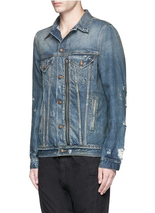Front View - Click To Enlarge - R13 - 'Zipper Trucker' distressed denim jacket