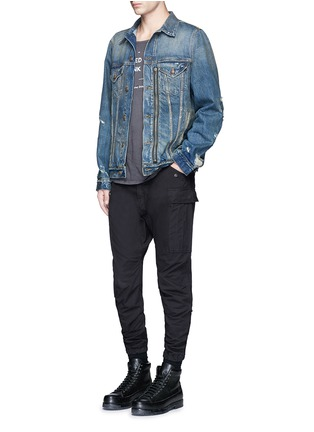 Figure View - Click To Enlarge - R13 - 'Zipper Trucker' distressed denim jacket