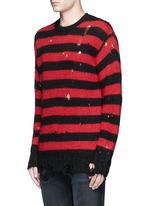 Oversize distressed stripe Merino wool blend sweater