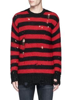 R13Oversize distressed stripe Merino wool blend sweater