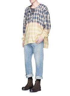 Faith Connexion Oversized check plaid bleached shirt