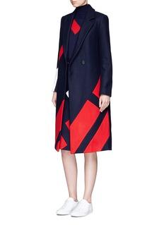 Comme MoiPatchwork stripe wool melton midi skirt