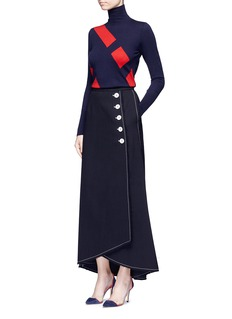 Comme MoiFrayed button front mock wrap maxi skirt