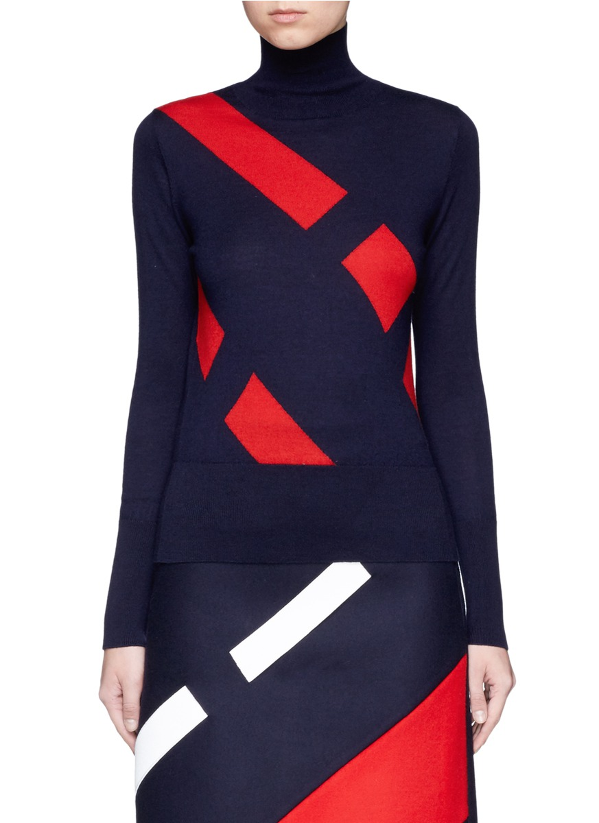 Segregated stripe wool blend sweater by Comme Moi