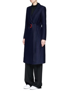 Comme Moi Eyelet belt wool melton coat