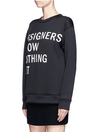 Front View - Click To Enlarge - Dkny - 'Designers Know Nothing Yet' print scuba jersey sweatshirt