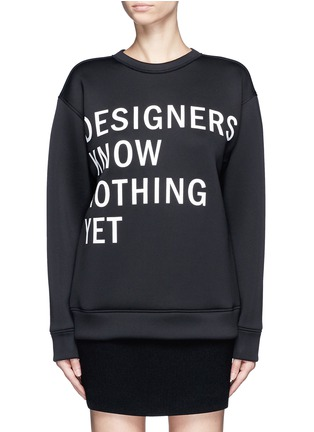 Main View - Click To Enlarge - Dkny - 'Designers Know Nothing Yet' print scuba jersey sweatshirt