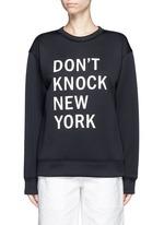 'Don't Knock New York' print scuba jersey sweatshirt