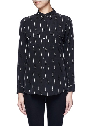 Equipment - x Kate Moss 'Slim Signature' lightning print silk shirt