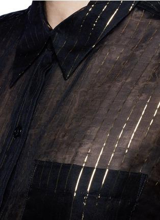 Detail View - Click To Enlarge - Equipment - x Kate Moss 'Daddy' metallic stripe sheer silk shirt