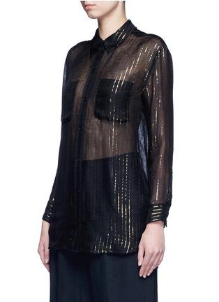 Front View - Click To Enlarge - Equipment - x Kate Moss 'Daddy' metallic stripe sheer silk shirt