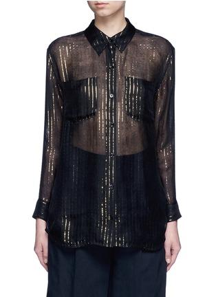 Main View - Click To Enlarge - Equipment - x Kate Moss 'Daddy' metallic stripe sheer silk shirt