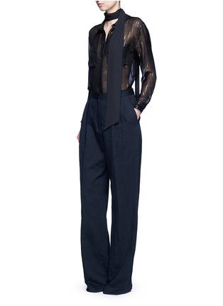 Figure View - Click To Enlarge - Equipment - x Kate Moss 'Daddy' metallic stripe sheer silk shirt