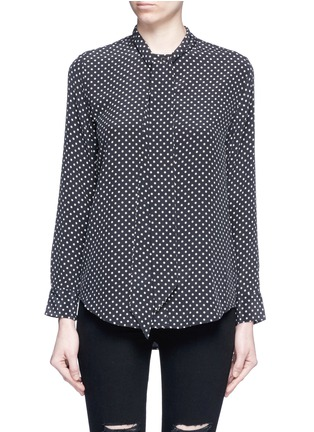Main View - Click To Enlarge - Equipment - x Kate Moss 'Collarless Slim Signature' star print silk shirt