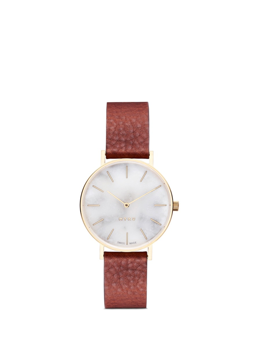 One of a kind White marble gold plated watch by Myku