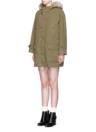 Front View - Click To Enlarge - SAINT LAURENT - Coyote fur trim shearling gabardine parka