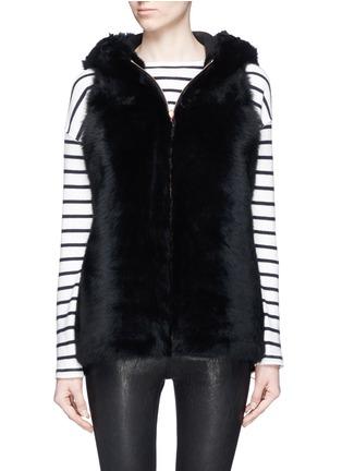 KARL DONOGHUE-Reversible cashmere lambskin shearling hooded gilet