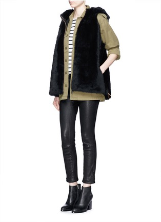 Figure View - Click To Enlarge - KARL DONOGHUE - Reversible cashmere lambskin shearling hooded gilet