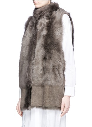 Front View - Click To Enlarge - KARL DONOGHUE - Reversible mesh embossed lambskin shearling gilet