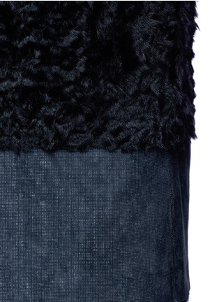 Detail View - Click To Enlarge - KARL DONOGHUE - Reversible mesh embossed Alpine lambskin shearling gilet