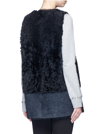 Back View - Click To Enlarge - KARL DONOGHUE - Reversible mesh embossed Alpine lambskin shearling gilet