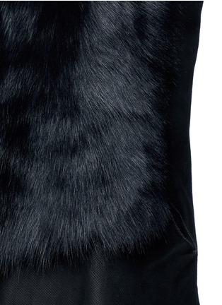 Detail View - Click To Enlarge - KARL DONOGHUE - Reversible mesh embossed lambskin shearling drape gilet