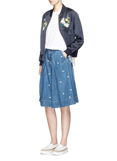 MUVEILFaux pearl front denim culottes