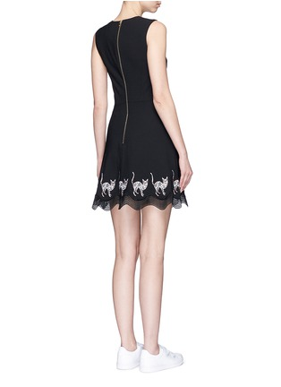 Back View - Click To Enlarge - MARKUS LUPFER - Mexican cat embroidery wave hem Fauna dress