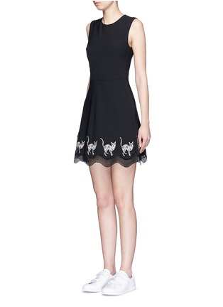 Front View - Click To Enlarge - MARKUS LUPFER - Mexican cat embroidery wave hem Fauna dress