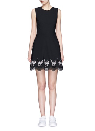 Main View - Click To Enlarge - MARKUS LUPFER - Mexican cat embroidery wave hem Fauna dress