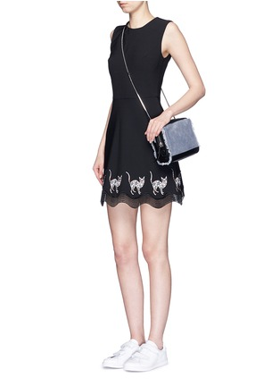 Figure View - Click To Enlarge - MARKUS LUPFER - Mexican cat embroidery wave hem Fauna dress