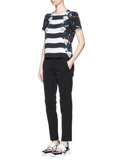 MARKUS LUPFER'Pretty Flower Stripe' silk Alice top