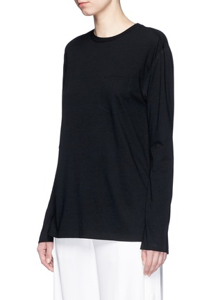 Front View - Click To Enlarge - T By Alexander Wang - Side split hem T-shirt