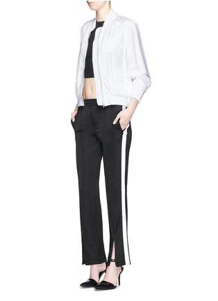 Figure View - Click To Enlarge - T By Alexander Wang - Outseam stripe sleek French terry sweatpants