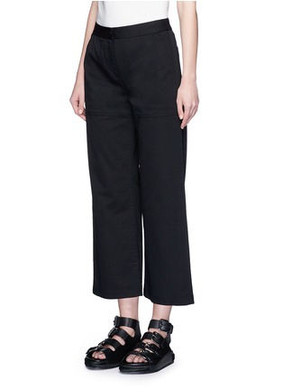Front View - Click To Enlarge - T By Alexander Wang - Cropped twill wide leg pants
