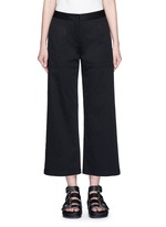 Cropped twill wide leg pants