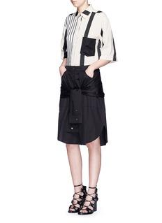 T BY ALEXANDER WANGSleeve waist tie poplin skirt